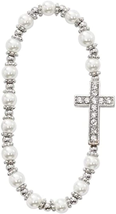 White Glass Bead First Communion Bracelet For Girls With Sideways Cross Charm - $29.02
