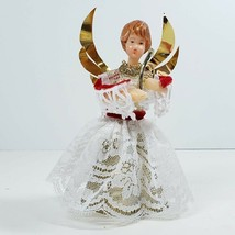 """Vintage Tree Topper Wax Face & Hands Angel Holding Harp Lace Dress 6"""" Ge... - $24.99"""