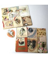 Antique Valentines Day Cards Vintage Lot Collection - $22.27