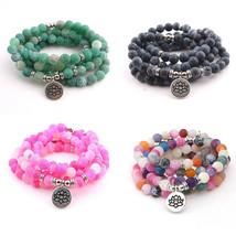 Natural Weathered Agate Colorful 108 Beads Mala Meditation Tibet Prayer ... - $14.99