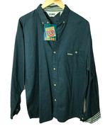 Gitano Vintage Mens New Roll Up Long Sleeve Button Cotton Shirt Blue Sz XL - $21.29