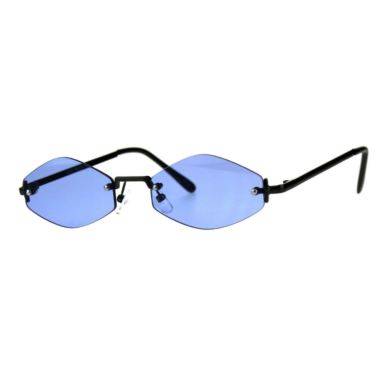 Skinny Oval Diamond Shape Sunglasses Womens Rimless Metal Frame Color Lens