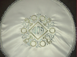Judaica Passover Seder Plate Matzo Cover White Satin Gold Silver Embroidery Rim image 3