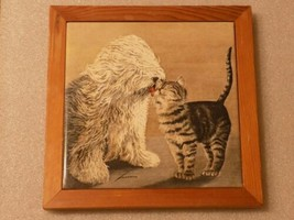 """Cat & Dog Tile Wood Framed Picture Wall Decor 7"""" 1987 Lowell Herrero - $19.31"""