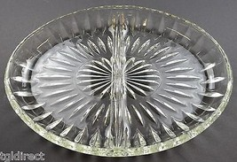 "Vintage Clear Pressed Glass 2 Part Relish Dish 9.5"" Wide Tableware Serve... - $17.99"