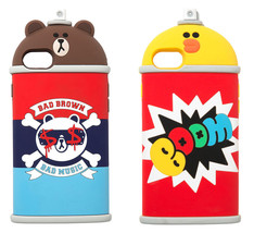LINE Friends Spray Silicone iPhone Case 7/7 Plus Character Cover Mobile ... - $37.98