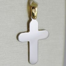 18K WHITE AND YELLOW GOLD CROSS STYLIZED LUSTER AND SATIN  MADE IN ITALY 1.10 IN image 3