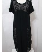 Vintage Dress Black Bias Cut Silk Lace Panel Inset Short Sleeve S - £273.67 GBP