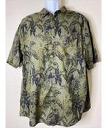 H&M Men Size 2XL Green Floral Button Up Shirt Short Sleeve Casual - $12.96