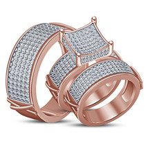 His Her Wedding Diamond Trio Ring Set 14k Rose Gold Finish 925 Sterling Silver - $154.99
