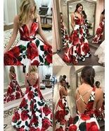 Floral Rose Print Sweep Train Prom Dresses  - £129.79 GBP+