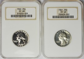 Collection of 2 1960 and 1961 25C Proof Washington Quarters. NGC PF68 an... - $160.00