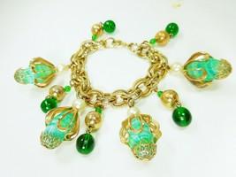 Vintage Chunky Green Glass Bead Dangle Charms Goldtone Chain Bracelet - $14.20