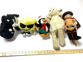 Lot Of Plush Puss And Boots. Sea world Lamb And Penguin - $14.84