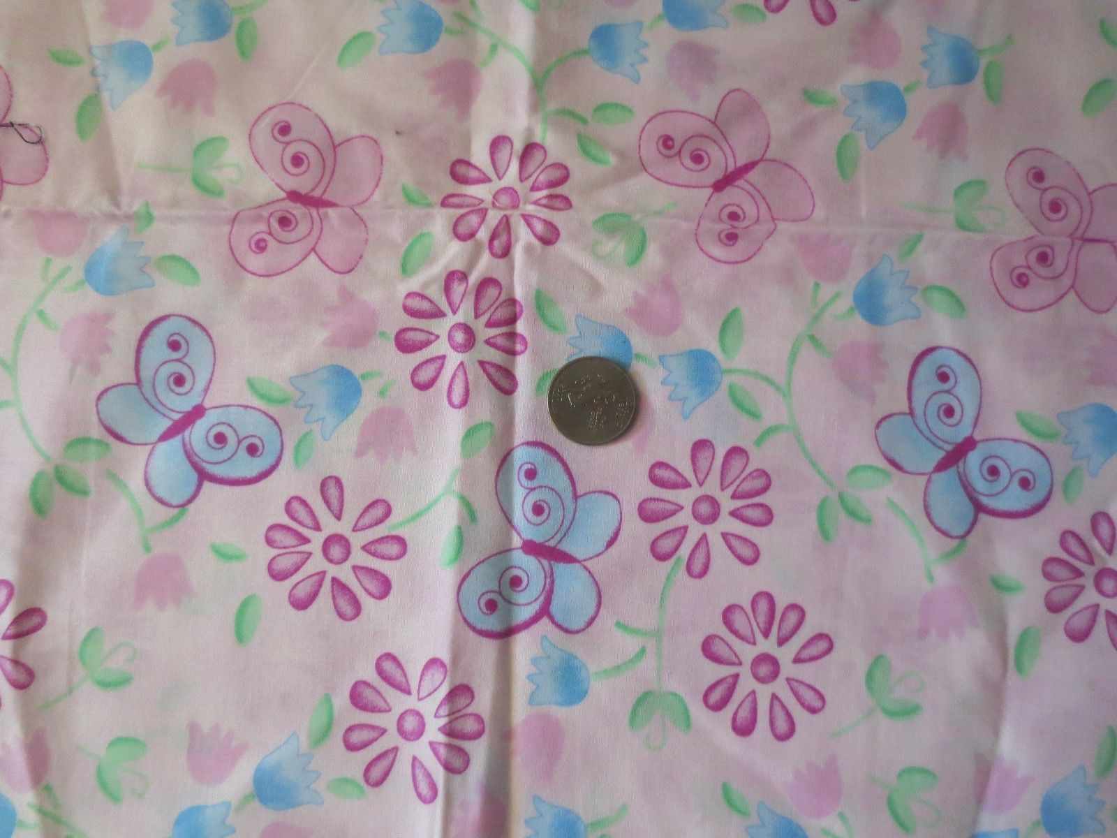 "Primary image for JoAnn Fabric Pink Butterflies 2 pieces 18"" each total 1 yard 44"" wide cotton"