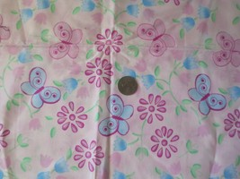 "JoAnn Fabric Pink Butterflies 2 pieces 18"" each total 1 yard 44"" wide co... - $10.00"