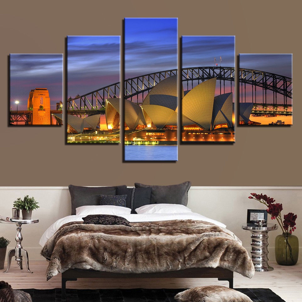 Sydney Opera House Nightscape Poster 5 Pcs HD Canvas Print