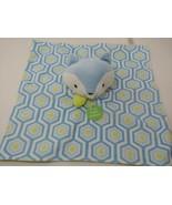 Boppy blue fox Security Blanket Plush Puppet Lovey Green white hexagon print  - $4.94
