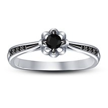Flower Style Engagement Ring Round Cut Black Diamond White Gold Over 925... - ₨4,877.63 INR