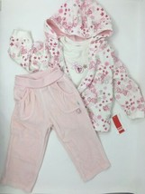Baby Girl 3 Piece Set Tracksuit Pink 12 Months Long Sleeve Floral Velour... - $26.02