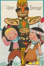 Vintage Birthday Card Children Cowboy and Indian Totem Pole Die-Cut 1960's - $12.86