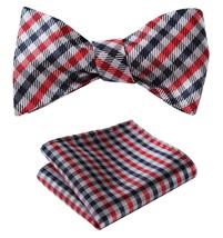 SetSense Men's Check Jacquard Wedding Party Self Bow Tie Pocket Square Set Navy  - $24.54