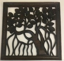 """Huge Antique Vintage Wood Hand Carved Picture Wall Art Bali 24x24"""" Tree ... - $293.03"""