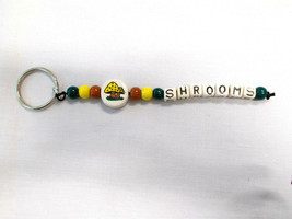 Ceramic Mushroom Disc Bead and Shrooms Text Letters Hippie Beaded Key Ring - $8.50
