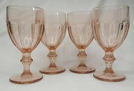 Vintage Libbey Pink Duratuff Gibraltar Water Glasses Goblets 6 3/4 Set of 4 - $45.37