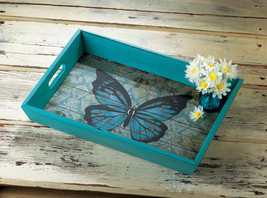 Weathered Blue Butterfly Theme Wooden Serving Tray Easy Grip Cutout Handles - $29.95