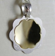18K YELLOW WHITE GOLD FLOWER MEDAL PENDANT REMEMBRANCE OF BAPTISM MADE IN ITALY image 2