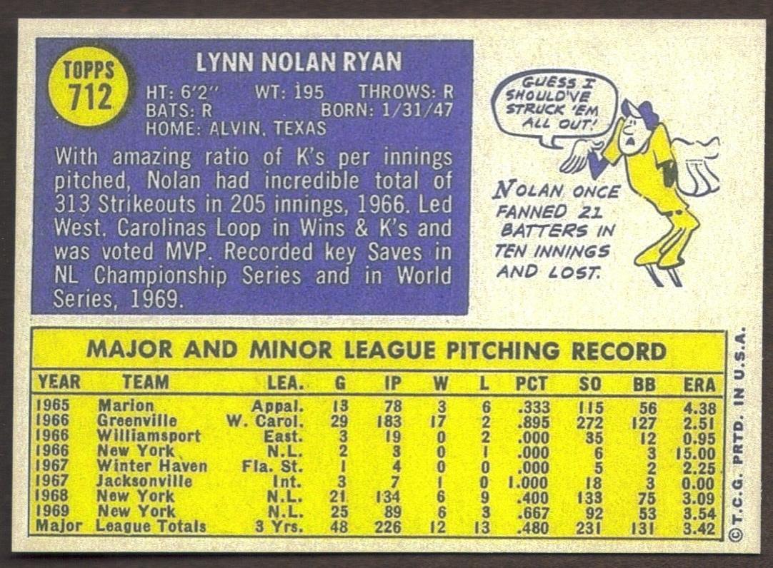 NOLAN RYAN Card RP #712 Mets 1970 T Free Shipping