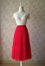 RED Midi Tulle Skirt Red Tiered Tulle Skirt High Waisted Red Tutu Midi Skirt  image 1