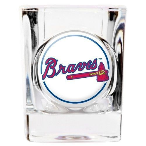 ATLANTA BRAVES DOMED LOGO 2 OZ. SQUARE SHOT GLASS MLB BASEBALL