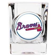 ATLANTA BRAVES DOMED LOGO 2 OZ. SQUARE SHOT GLASS MLB BASEBALL - $10.36