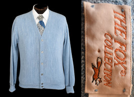 Vintage 80s Blue Button Front Grandpa Cardigan Sweater Size Large - $49.99