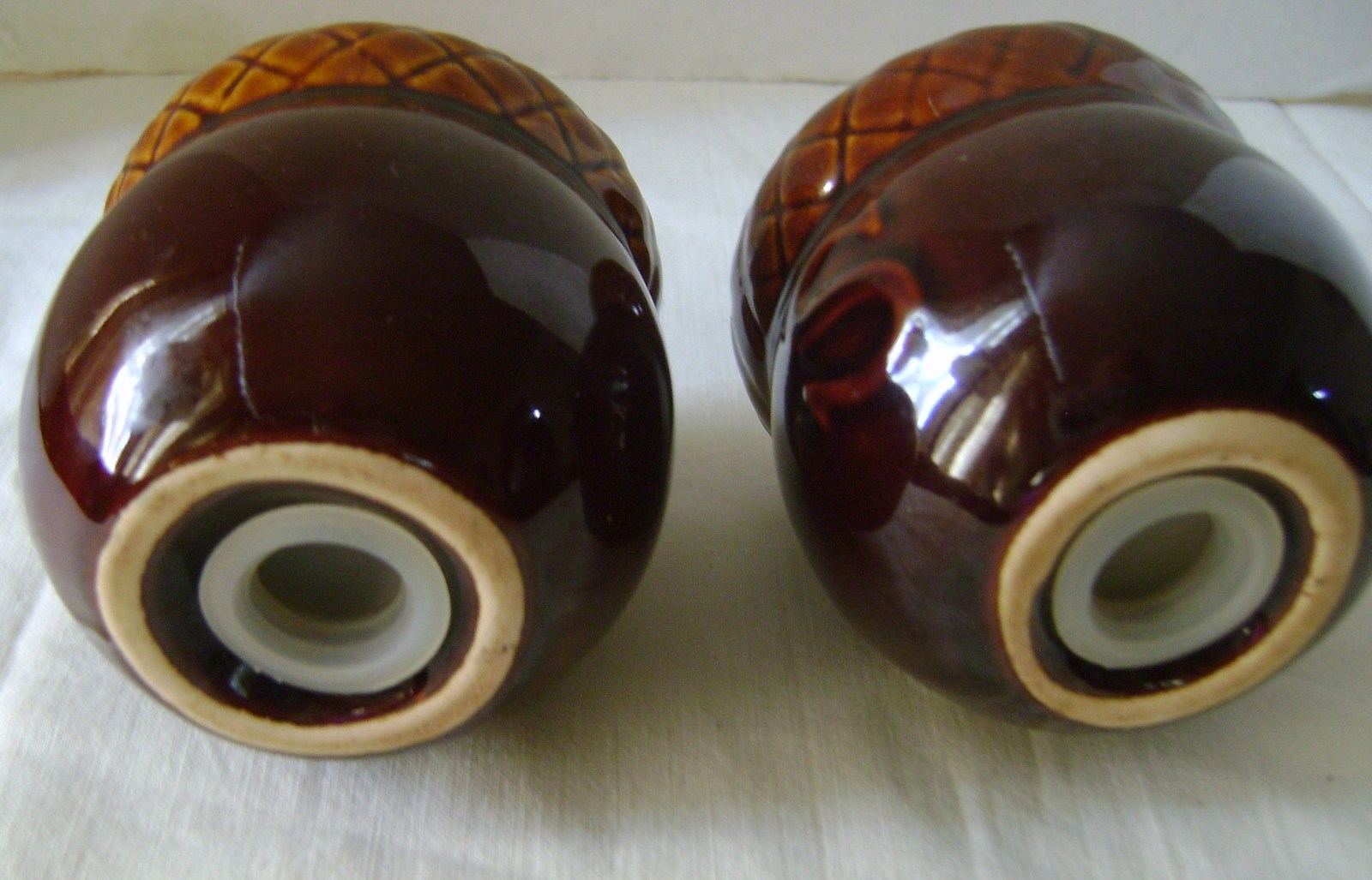 CERAMIC ACORN SALT & PEPPER SHAKERS