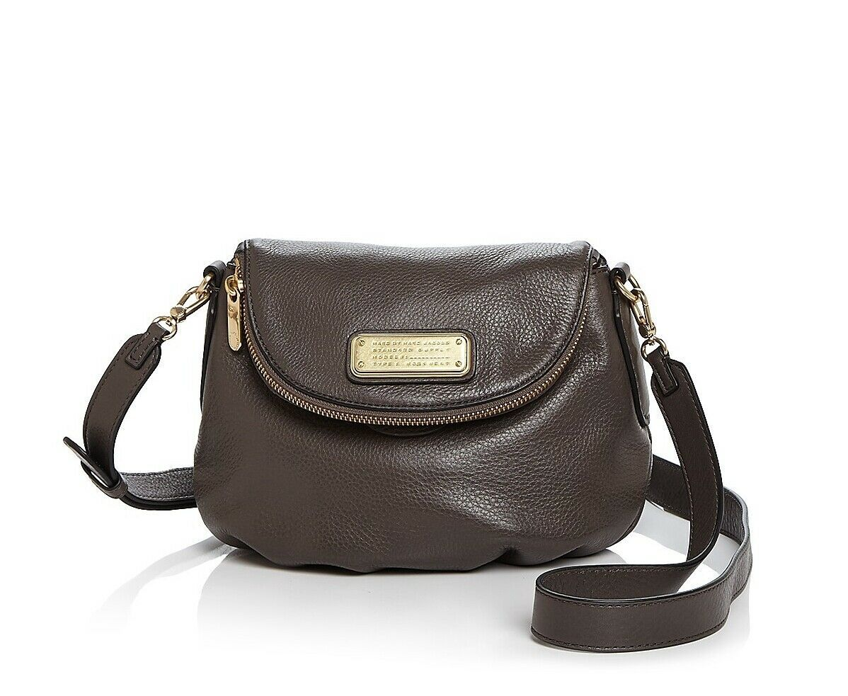 Primary image for NWT Marc by Marc Jacobs New Q Mini Natasha Leather Crossbody bag GREY AUTHENTIC