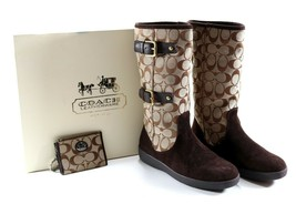 Women's Authentic COACH Tinah A7229 Khaki Mid-Calf 7 M Boots w/ Box + Co... - $145.79