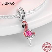 925 Sterling Silver Enamel Flamingo Fashion Charm Beads Fit Original pan... - $13.62