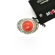 925 Silver Ring Antique with Jasper Red Made in Italy by Maschia image 5