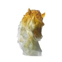 DAUM Crystal  Grey amber andalousian horse's head 08023-1 France - $3,959.01