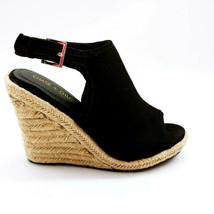 Chase+Chloe Womans Meghan Wedge Ankle Strap Espadrille Sandal Black Sz 7.5 M NEW - $21.45