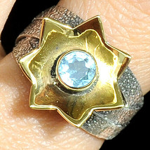 Sterling Silver 925 Topaz Two Tone Estate Star Ring Vintage Ladies Size 5.5 7.5 - $18.98