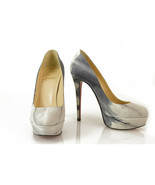 Christian Louboutin 130mm Round Toe marble print Tie Dye White Gray Heel... - $345.51