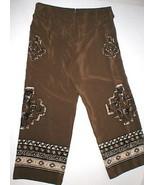Womens Worth New York $498 14 USA Print Silk Pants Brown White Wide Ethn... - $199.20
