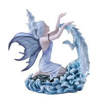Eccentric Fairy With Blue Dragon Figurine Handpainted Resin - £63.27 GBP
