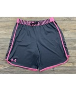 Under Armour Heat Gear Shorts Youth Girls XL Loose Fit Grey/Pink Soft An... - $15.84