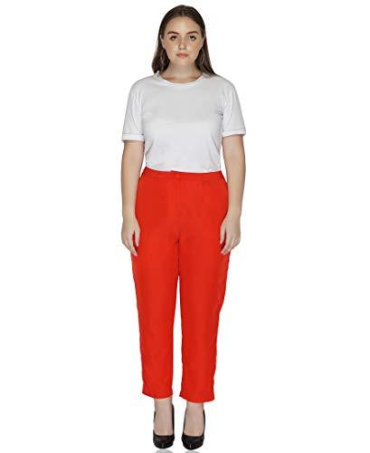 Benares Pants for Women - Polyester Bottom Wear, Red, Plus Size (3X)