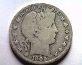 1909-S Barber Half Dollar Good+ G+ Nice Original Coin From Bobs Coins Fast Ship - $23.00